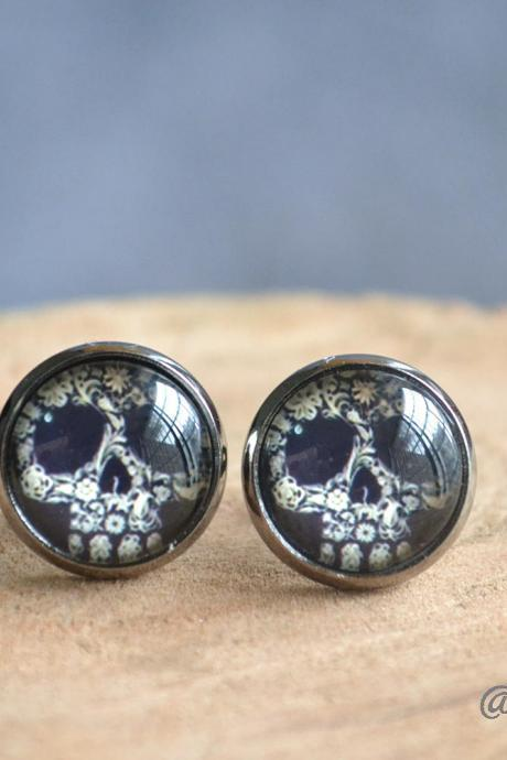 Skull earrings-Skull stud earrings-Floral skull ear studs- post earrings-unisex earrings-glass dome cabochon earrings jewelry-Unisex gift
