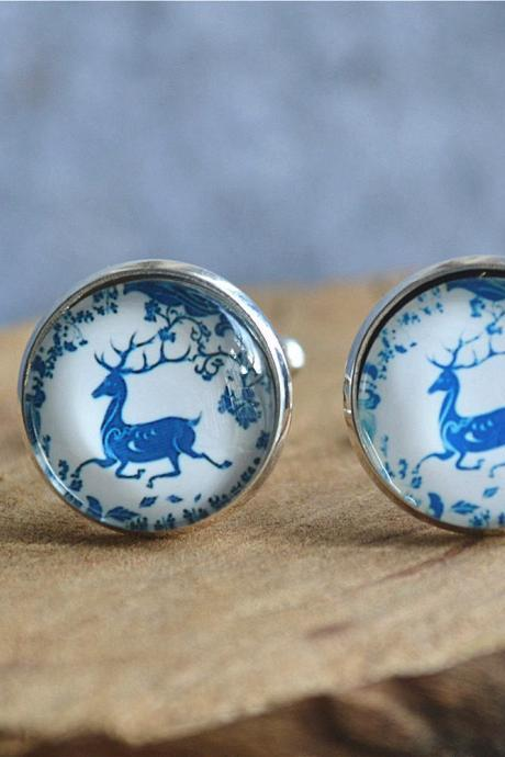 Deer cufflinks,Elk Tie Clip,Animal deer cuff links,elk in forest tie clip, cabochon jewelry,wedding Groomsman gift,Christmas gift