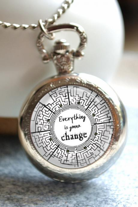 Maze Runner Pocket Watch, Quote 'Everything is gonna change' photo quartz watch necklace jewelry, maze watch necklace,pendant necklace