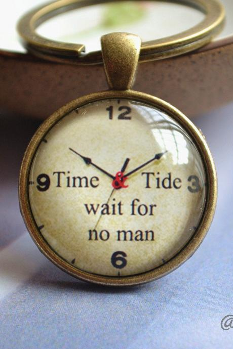 Time Clock Necklace -Quote 'Time Tide wait for no man' Jewelry - Cabochon Picture Necklace - Glass Dome Pendant Jewelry - Friendship gift