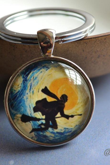 Magic Keychain - Wizard Key Ring - Wizard on Broom Picture Necklace - Glass Dome Pendant Necklace - Custom Photo Jewelry - Brass & Silver