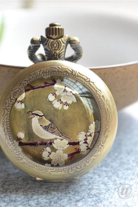 Vintage Style Pocket Watch, Bird Watch Necklace, Flower Branch Photo Quartz Watch Jewelry, Cabochon Keychain/Pendant Necklace/Pocket Watch